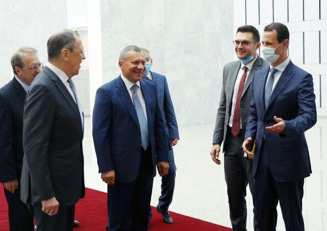 وزير الخارجية السوري يلتقي مع رئيس بشار الأسد في دمشق، سوريا 7 سبتمبر 2020