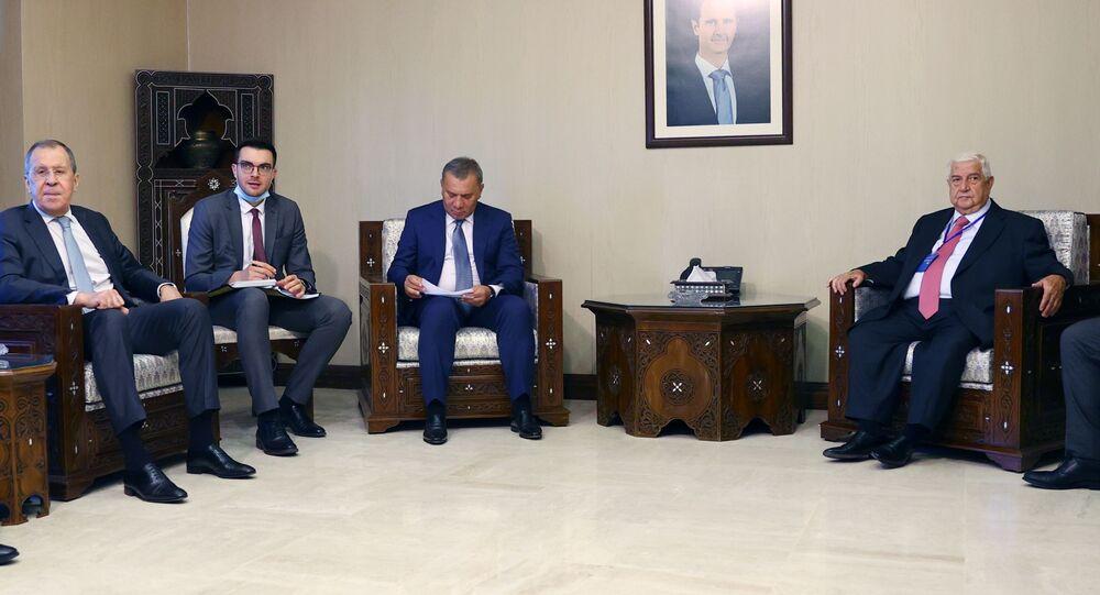 وزير الخارجية السوري وليد المعلم يلتقي مع وزير الخارجية الروسي سيرغي لافروف في دمشق، سوريا 7 سبتمبر 2020