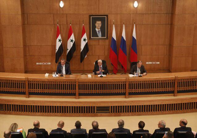 المؤتمر الصحفي لوزير الخارجية السوري ونظيره الروسي ونائب رئيس الحكومة الروسية