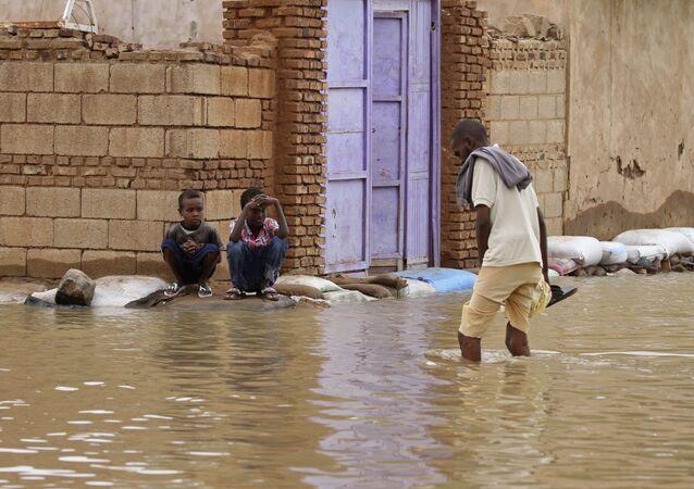 تداعيات فيضان مياه النيل الأزرق في منطقة شقليب في السودان،31 أغسطس 2020