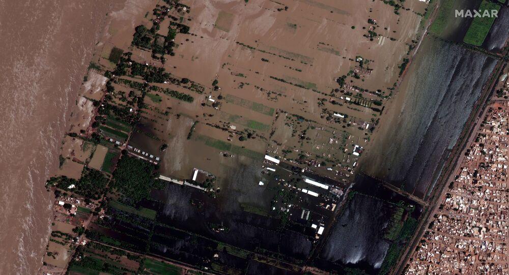 صورة من الأقمار الصناعية تكشف مدى تضرر منطقة النيل الأزرق بالقرب من الخرطوم في السودان، 5 سبتمبر 2020
