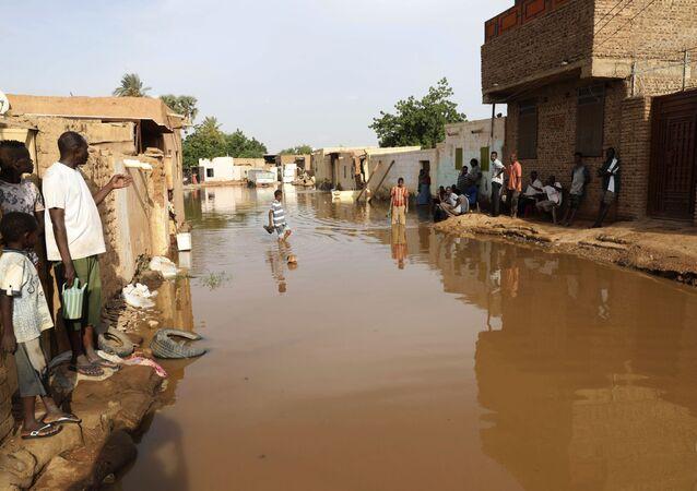 تداعيات فيضان مياه النيل الأزرق في منطقة أم درمان في السودان، 26 أغسطس 2020