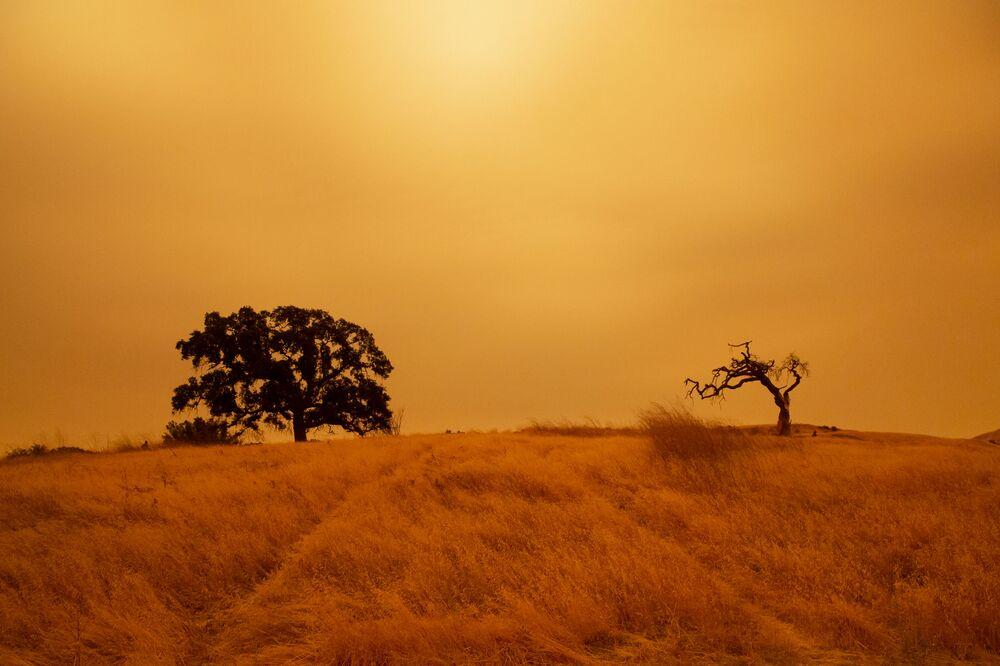 سماء برتقالية اللون في كونكورد بسبب حرائق الغابات الهائلة  في ولاية كاليفورنيا، 9 سبتمبر 2020