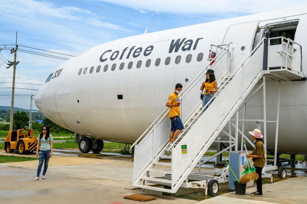 مقهى على متن طائرة آيروباص 330، في بانكوك 10 سبتمبر 2020