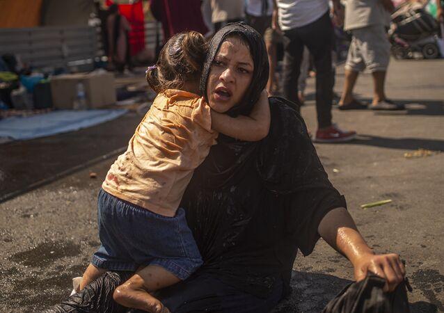 الوضع في مخيم موريا للاجئين والمهارجرين في جزيرة ليسبوس، اليونان 14سبتمبر 2020