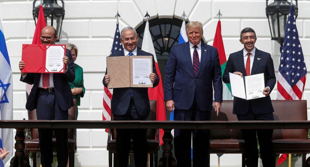 توقيع اتفاق السلام بين الإمارات والبحرين وإسرائيل في حضور الرئيس الأمريكي دونالد ترامب 15 سبتمبر أيلول