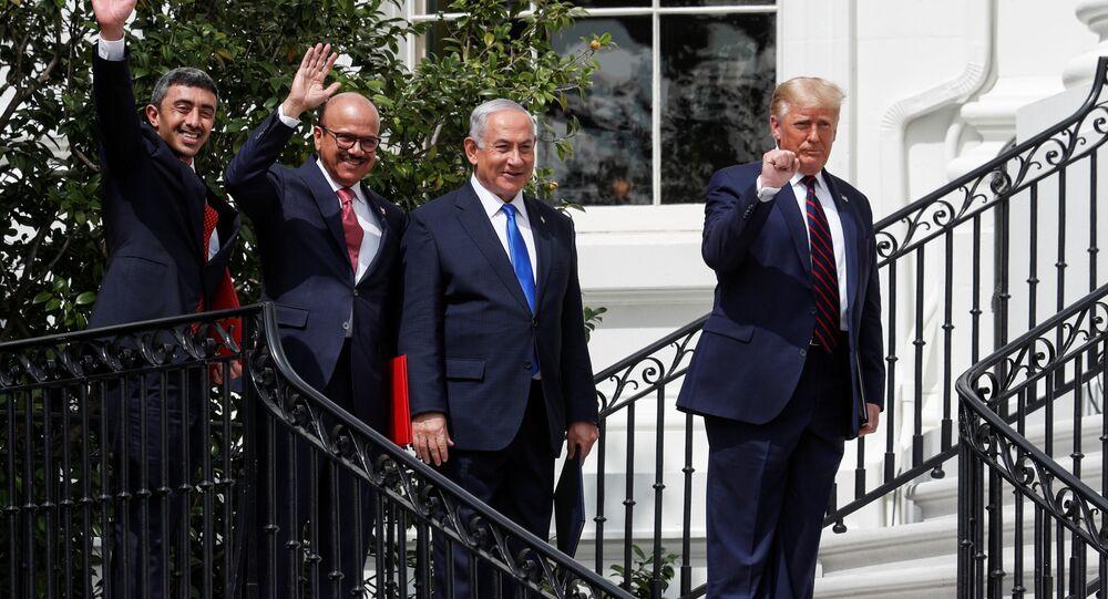 مراسم توقيع اتفاق السلام بين إسرائيل والإمارات والبحرين في واشنطن، الولايات المتحدة 15 سبتمبر 2020