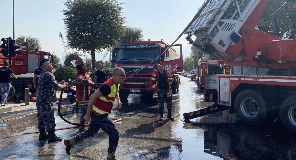 آثار اندلاع حريق في المجمع التجاري ي بيروت، لبنان 15 سبتمبر 2020