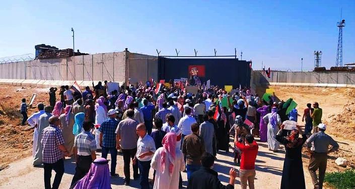 احتجاجات أمام نقاط المراقبة التركية في إدلب، سوريا 16 سبتمبر 2020