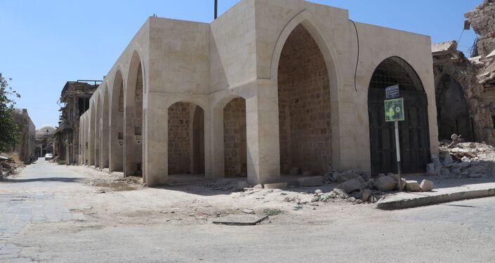 أعمال الترميم مستمرة في مدينة حلب القديمة، سوريا