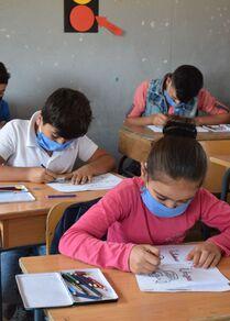 دورات تعليمية لأطفال اللاجئين السوريين في مركز الحماية من أسوأ أشكال عمل الأطفال في سعدنايل، في البقاع الأوسط، لبنان