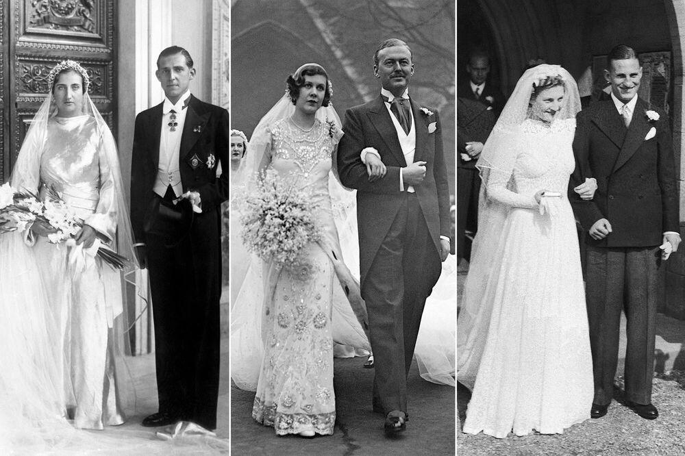 على يسار الصورة: الأميرة ماريا دي لاس مرسيدس، من بوربون من صقلية، مع زوجها الأمير خوان، نجل ملك إسبانيا ألفونسو الثالث عشر، 12 أكتوبر/ تشرين أول عام 1935؛ وسط الصورة: الاجتماعية الإنجليزية نانسي بيتون مع زوجها السير هيو سمايلي، 18 يناير/ كانون الثاني عام 1933؛ على يمين الصورة: الآنسة دوروثي ماري دينيس بعد زفافها من لين هوتون، لاعب الكريكيت وكابتن فريق إنجلترا لرياضة كريكت، 16 سبتمبر/ أيلول عام 1939.