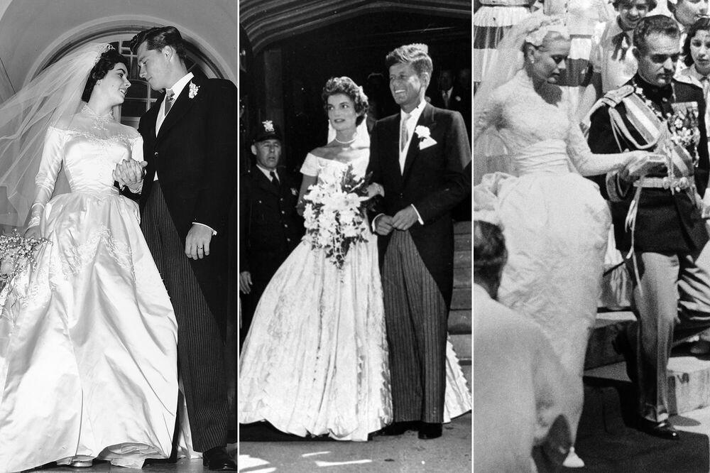 على يسار الصورة: الممثلة الأمريكية الشهيرة إليزابيث تايلور وزوجها كونراد هيلتون جونيور، 6 مايو/ أيار عام 1950؛ وسط الصورة:  الرئيس الأمريكي المستقبلي جون كينيدي  وزوجته جاكلين كينيدي (بوفييه)، 12 سبتمبر/ أيلول 1953؛ يمين الصورة: الممثلة غريس كيلي بعد زفافها من أمير موناكو رينييه الثالث، 19 أبريل/ نيسان عام 1956.