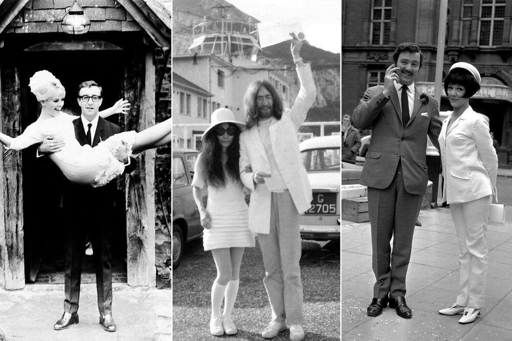 على يسار الصورة: الممثلة السويدية بريت إيكلاند مع زوجها الممثل البريطاني بيتر سيلرز، 19 فبراير/ شباط عام 1964؛ وسط الصورة: الفنانة اليابانية يوكو أونو بعد زفافها من مغني الروك البريطاني وعضو فرقة بيتلز جون لينون، 20 مارس/ آذار 1969؛ يمين الصورة: الممثلة الإنجليزية أماندا باري مع زوجها الممثل روبن هنتر، 19 يونيو/ حزيران 1967.