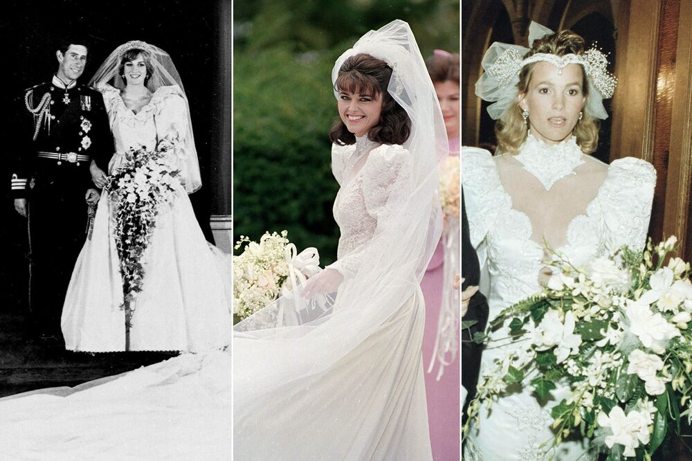 على يسار الصورة: ديانا، أميرة ويلز بعد زفافها مع  أمير ويلز تشارلز، الابن الأكبر للملكة إليزابيث الثانية، 29 يوليو/ تموز 1981؛ (في الوسط) الصحفية ماريا شرايفر قبل زواجها من الممثل وحاكم كاليفورنيا المستقبلي أرنولد شوارزنيغر، 26 أبريل/ نيسان 1986؛ الممثلة جانيت جونز (غريتسكي) قبل زواجها من لاعب هوكي الجليد الكندي واين غريتسكي، 16 يوليو/ تموز 1988.