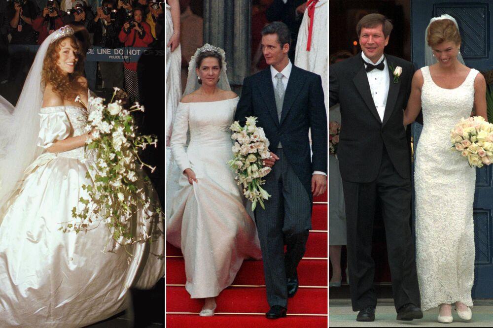على يسار الصورة: المغنية ماريا كاري تتزوج المنتج تومي موتولا، 5 يونيو/ حزيران 1993، في الوسط: كريستينا دي بوربون الإسبانية بعد زواجها من لاعب كرة اليد الإسباني والحائزةعلى الميدالية الأولمبية إيناكي أوردانغارين، 4 أكتوبر/ تشرين أول عام 1997؛ على يمين الصورة: سيدة الأعمال كارين فالدبيليغ كيسيك والسياسي الأمريكي جون كيسيك، 22 مارس / آذار 1997.