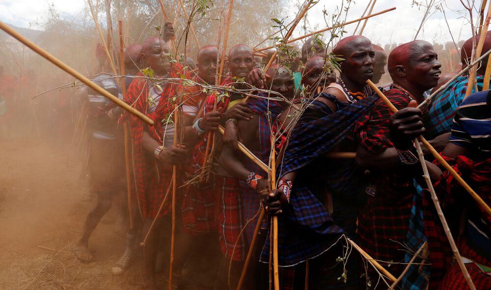 رجال قبيلة ماساي خلال السير على درب أكل اللحوم، ليلتحم هناك دربين: درب الكبار إلبامو (Ilpaamu) والشباب إلايتي (Ilaitete)، أثناء احتفالات أولنغيشير (Olng'esherr) عند تلال ماباراشا، بالقرب من كاجيادو في كينيا، 23 سبتمبر 2020