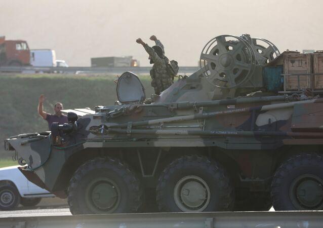 التصاعد العسكري بين أرمينيا و أذربيجان - قوات الجيش الأذربيجاني في باكو، أذربيجان، 27 سبتمبر 2020
