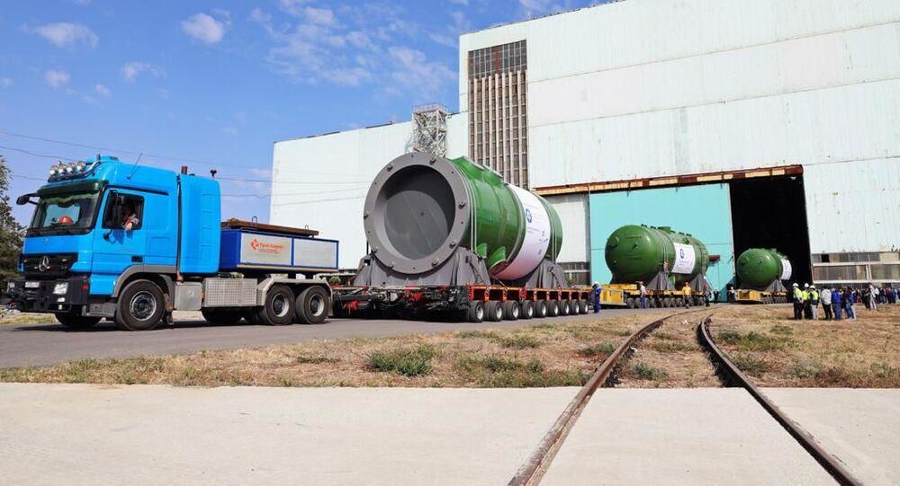 مصنع آتوماش يقوم بشحن أول هيكل مفاعل لمحطة أكويو النووية الأولى من نوعها في تركيا