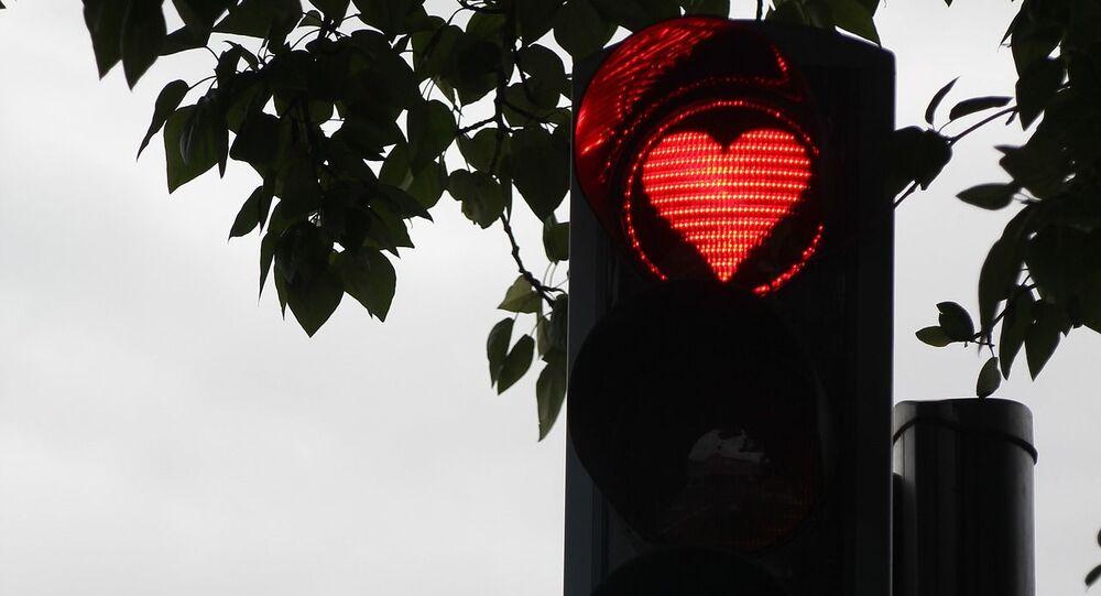 إشارة مرور على شكل قلب