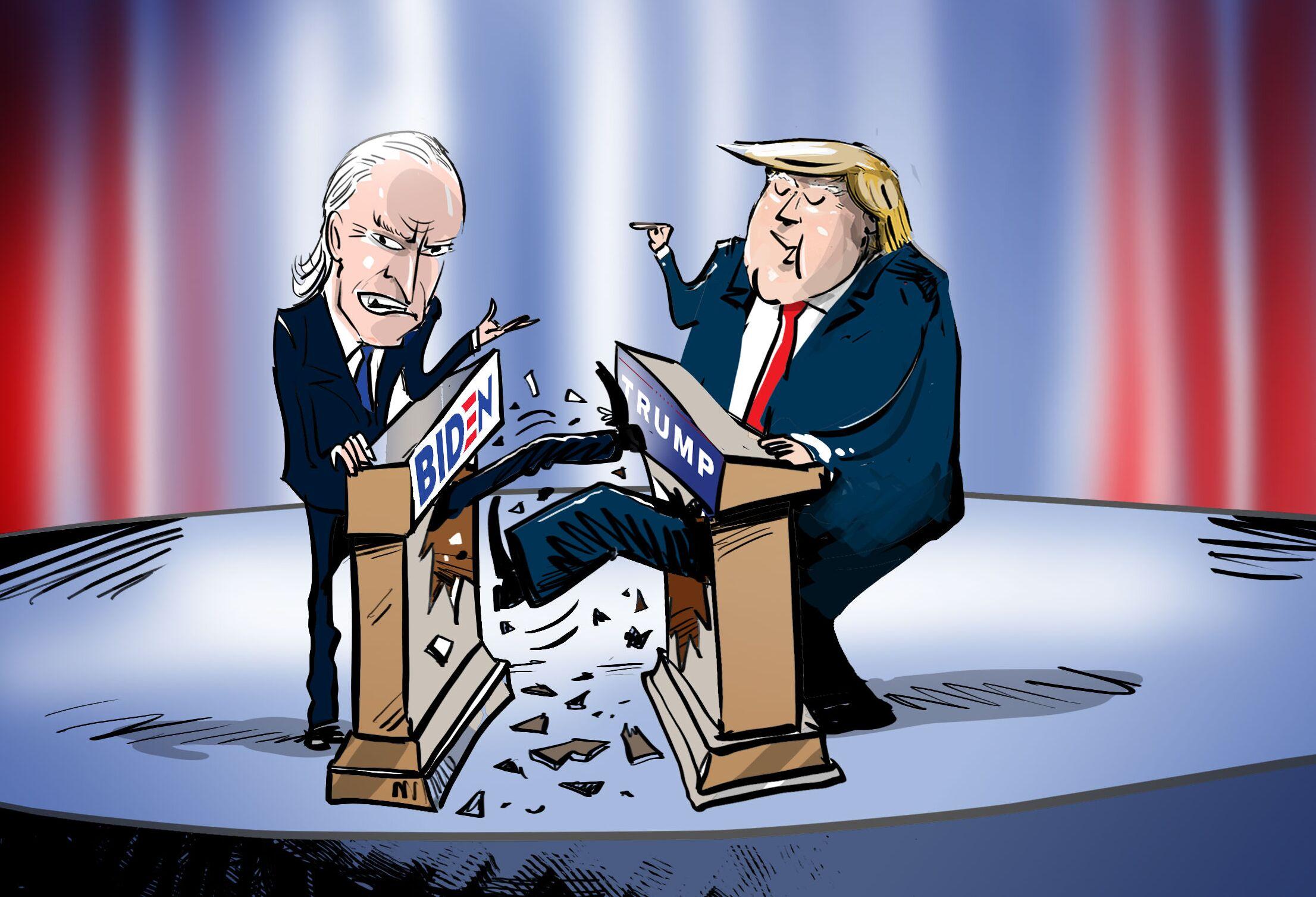 ترامب وبايدن في أكثر المناظرات إثارة للجدل