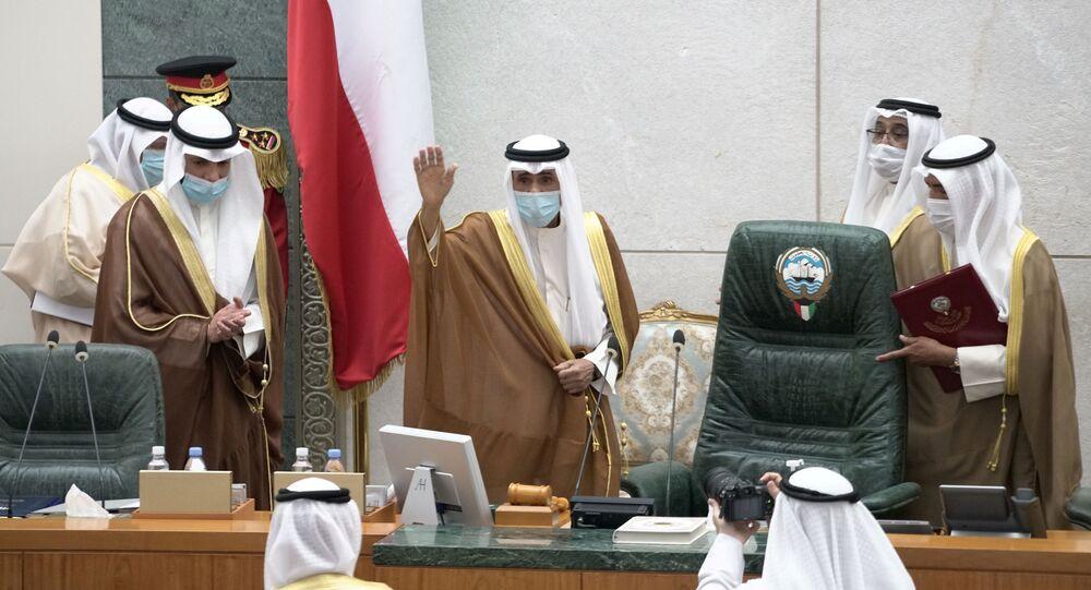الشيخ نواف الأحمد القسم في مجلس الأمة الكويتي، الكويت  30 سبتمبر 2020