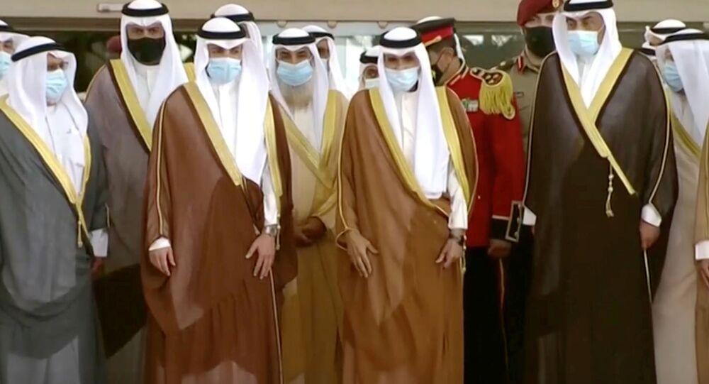 الشيخ نواف الأحمد أمام مجلس الأمة الكويتي، الكويت  30 سبتمبر 2020
