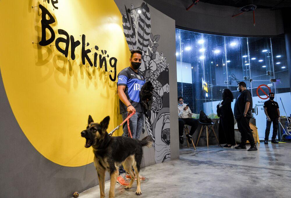 رجل برفقة كلبه الراعي الألماني في مقهى Barking Lot في مدينة الخبر، المملكة العربية السعودية 25 سبتمبر 2020