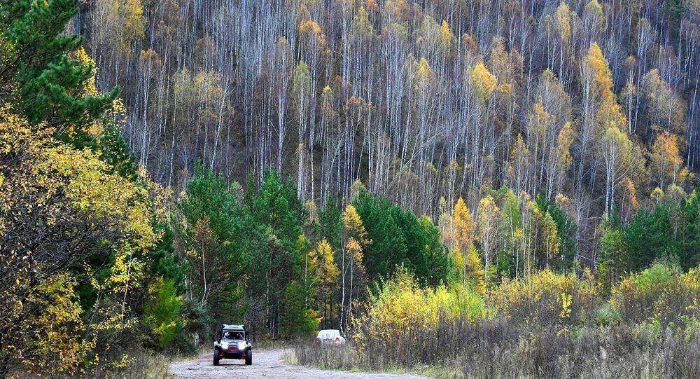 مركبة رباعية الدفع في طريق وسط التايغا السيبيرية (غابة) بالقرب من إقليم كراسنويارسك، روسيا 27 سبتمبر 2020