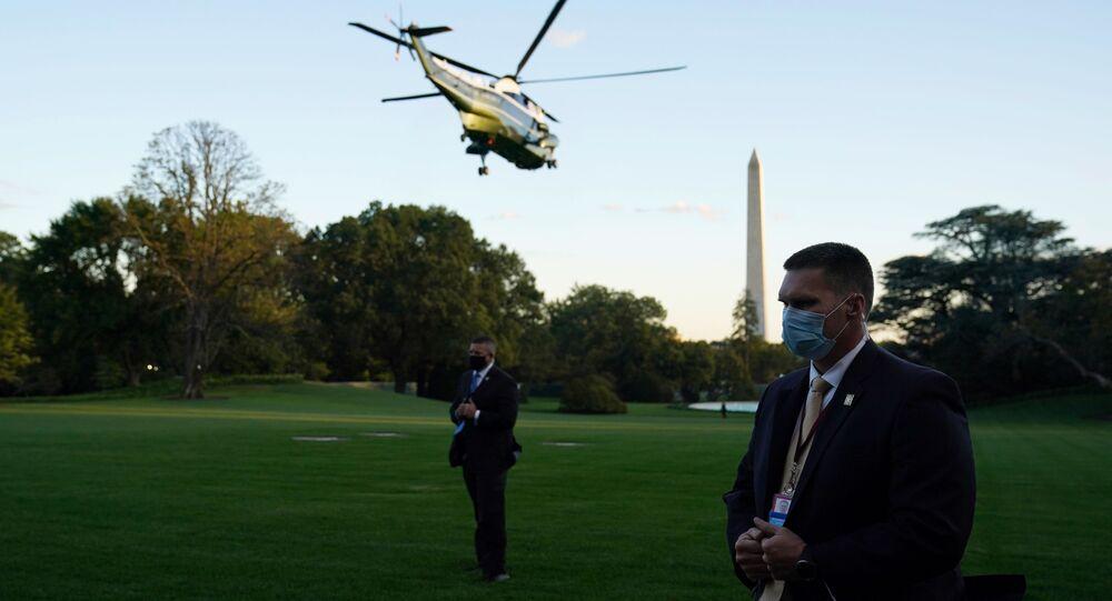 الرئيس الأمريكي دونالد ترامب يغادر البيت الأبيض إلى المركز الطبي ولتر ريد في بيثيسدا، ماريلاند، الولايات المتحدة 2 أكتوبر 2020