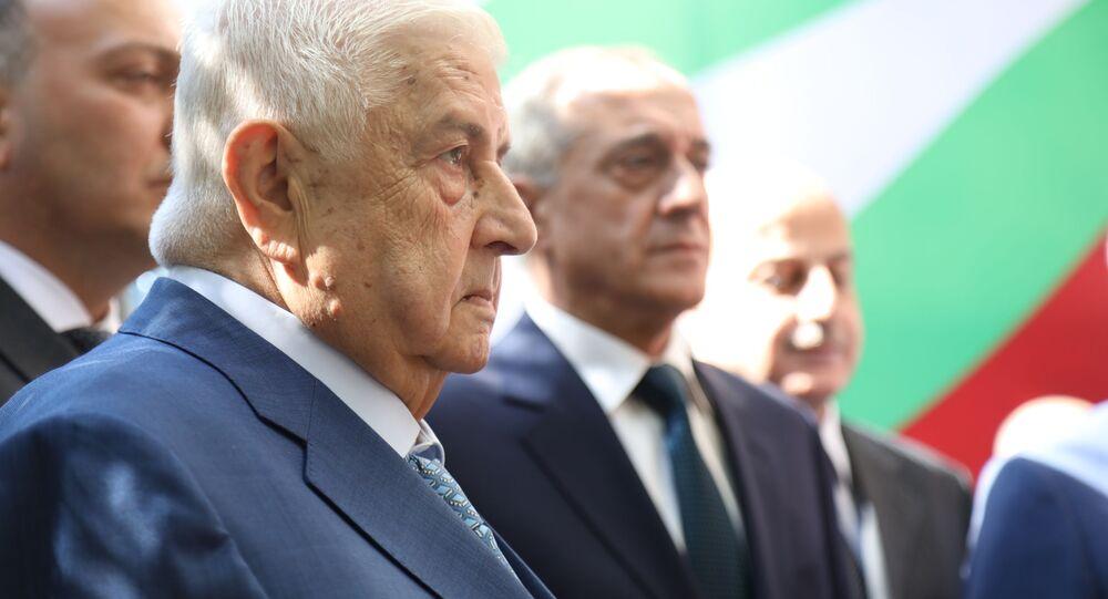 وزير الخارجية السوري وليد المعلم يحضر افتتاح سفارة أبخازيا في دمشق، سوريا 6 أكتوبر 2020