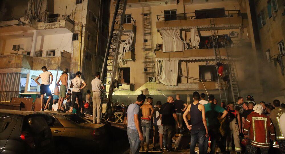 انفجار وقع في خزان محروقات أحد الأفران في طريق الجديدة ببيروت، الجمعة 9 أكتوبر 2020