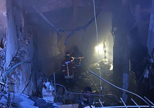 انفجار خزان للمازوت في الطريق الجديدة في بيروت، لبنان 9 أكتوبر 2020