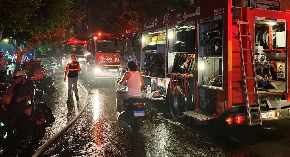انفجار خزان للمازوت في الطريق الجديدة في بيروت، لبنان 12 أكتوبر 2020