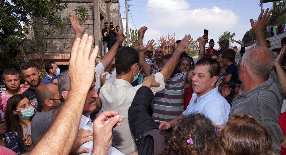 الرئيس بشار الأسد يزور المناطق التي تعرضت للحرائق ويلتقي مع أهلها، سوريا 13 أكتوبر 2020
