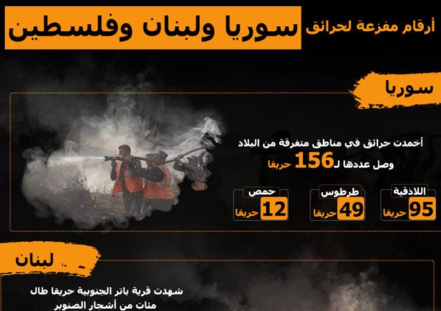 إنفوجرافيك…أرقام مفزعة عن حرائق سوريا ولبنان وفلسطين