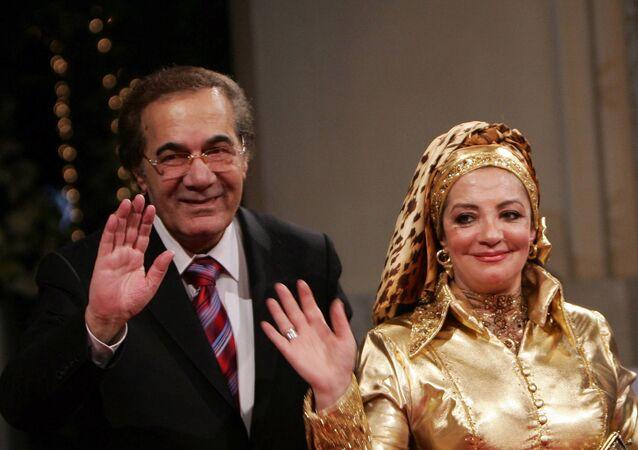 الفنان المصري محمود ياسين وزوجته الفنانة شهيرة
