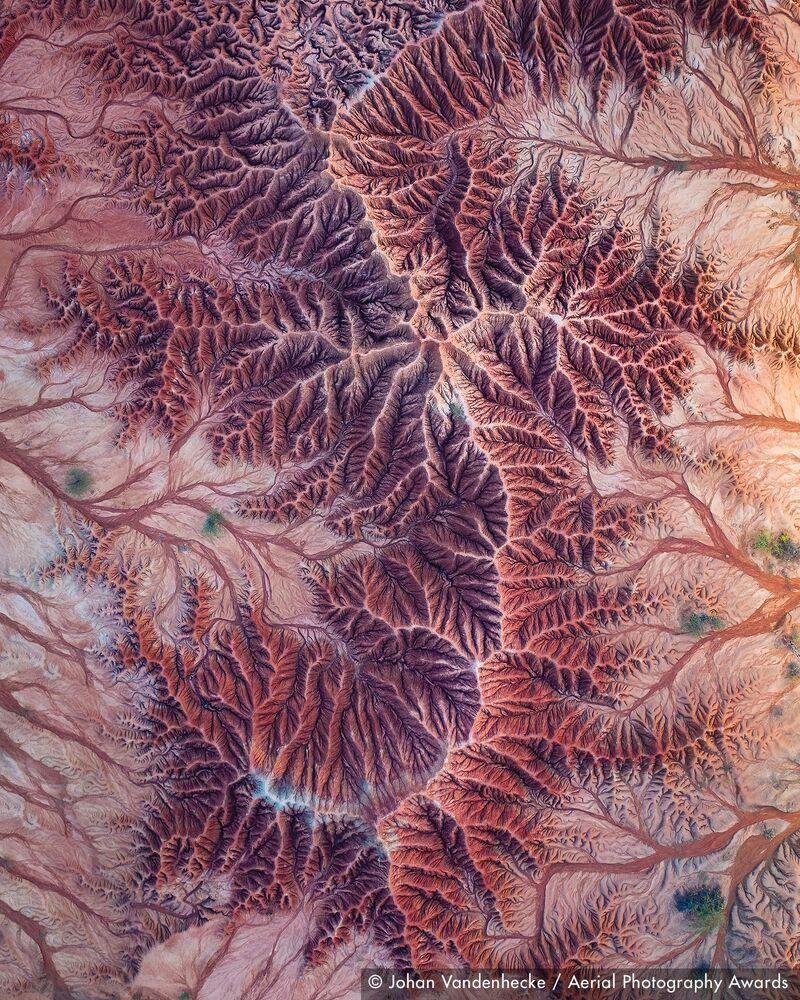 صورة بعنوان صحراء تتاكوا (في كولومبيا)، للمصور البلجيكي يوهان فاندينهيكي، الفائزة في فئة التصوير التصوير التجريدي من مسابقة جوائز التصوير الجوي لعام 2020