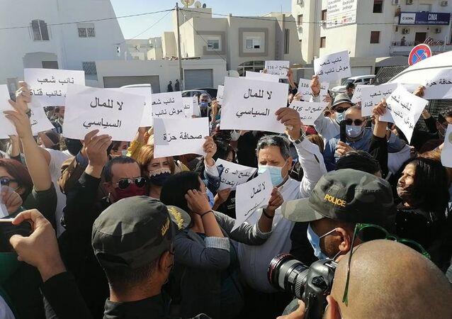 تظاهرة احتجاجية لصحفيين تونسيين