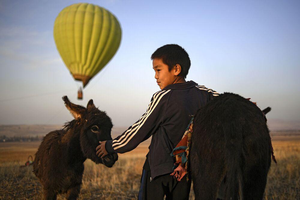 فتى وحماره خارج مدينة بيشكيك، قرغيزستان 16 أكتوبر 2020