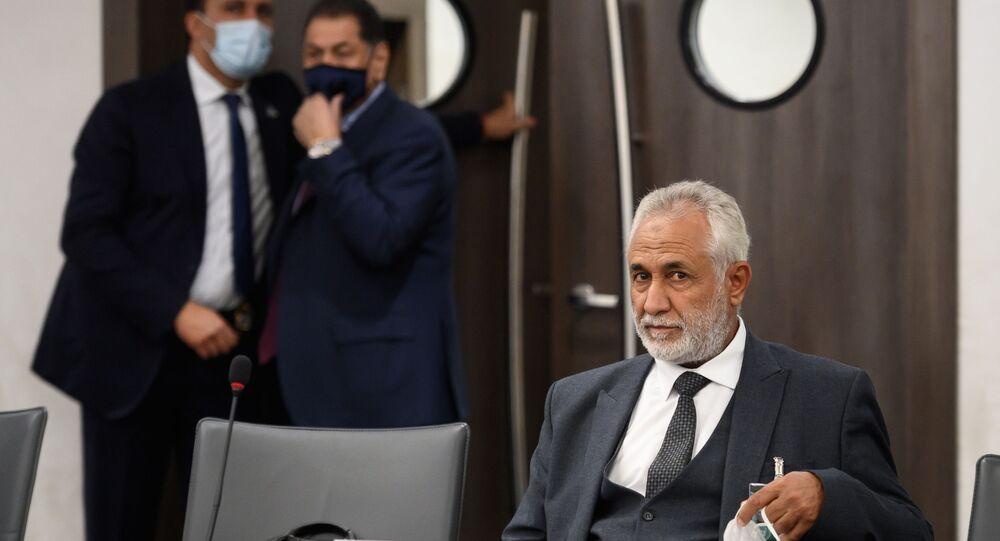 رئيس الوفد العسكري لحكومة الوفاق الوطني أحمد علي أبو شحمة، محادثات اللجنة العسكرية الليبية المشتركة (5+5)، يوم الاثنين الماضي، في مقر الأمم المتحدة في جنيف، سويسرا 20 أكتوبر 2020