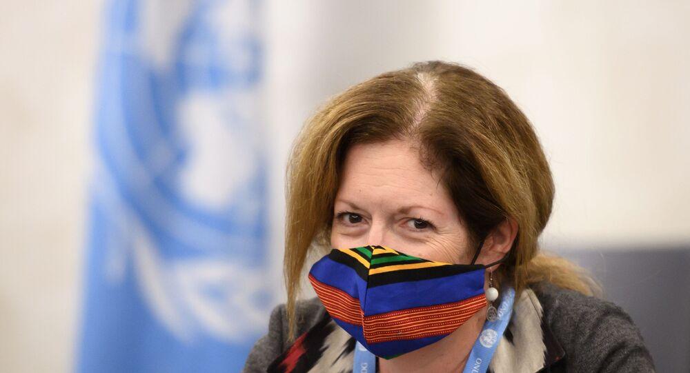 رئيسة بعثة الأمم المتحدة إلى ليبيا، ستيفاني ويليامس، محادثات اللجنة العسكرية الليبية المشتركة (5+5)، يوم الاثنين الماضي، في مقر الأمم المتحدة في جنيف، سويسرا 20 أكتوبر 2020