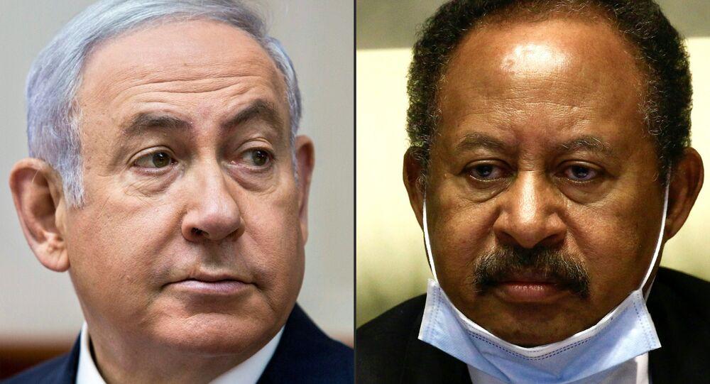 رئيس الوزراء السوداني في الحكومة الانتقالية عبد الله حمدوك، رئيس الوزراء الإسرائيلي بنيامين نتنياهو