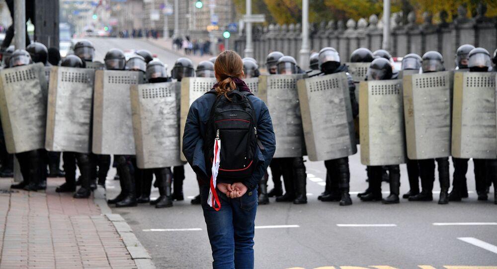 احتجاجات المعارضة البيلاروسية نارودني أولتيماتوم في مدينة مينسك، بيلاروسيا 25 أكتوبر 2020