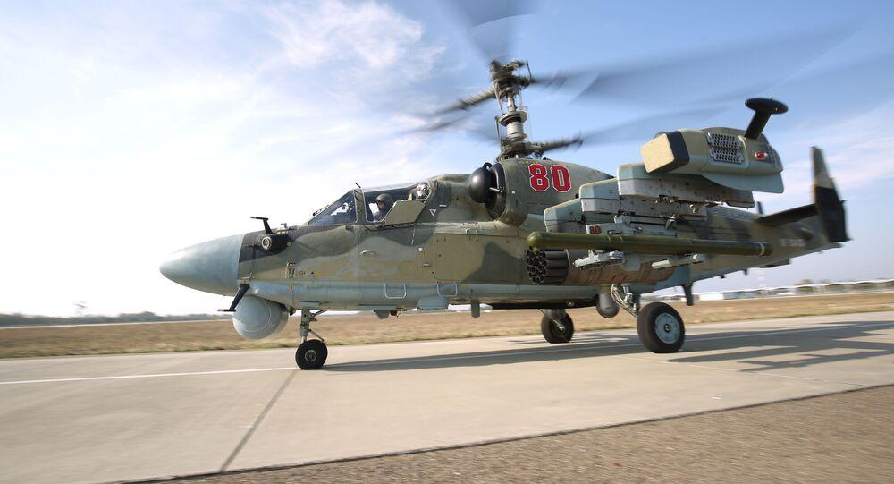 مناورات الطيران الحربي الروسي في منطقة جنوب غرب روسيا - الجيش الروسي، إطلاق صاروخ فيخر - 1 من مروحية كا - 52