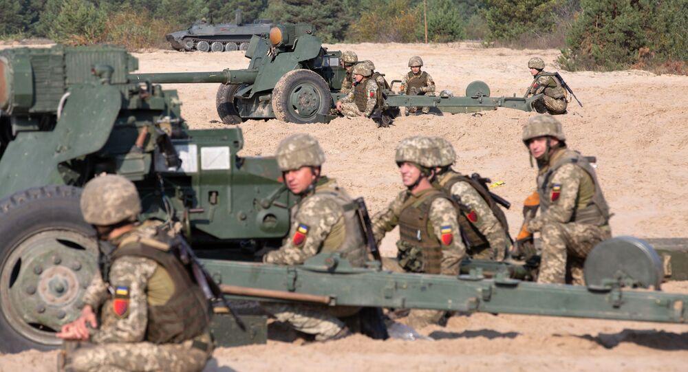 مناورات الجيش الأوكراني في إقليم كييفسكايا، مدفع إم تي - 12، أوكرانيا