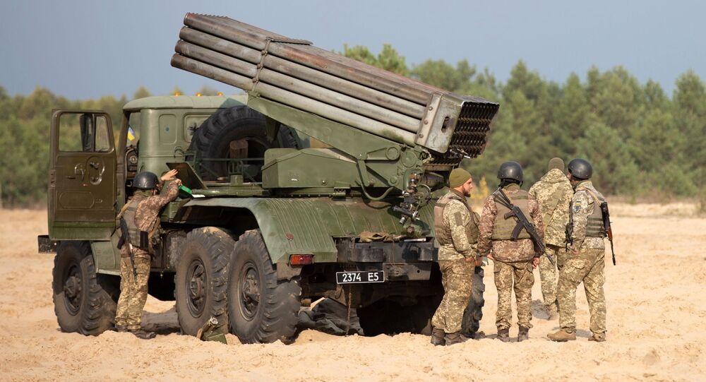 مناورات الجيش الأوكراني في إقليم كييفسكايا، راجمة صواريخ بي إم - 21 (غراد)، أوكرانيا