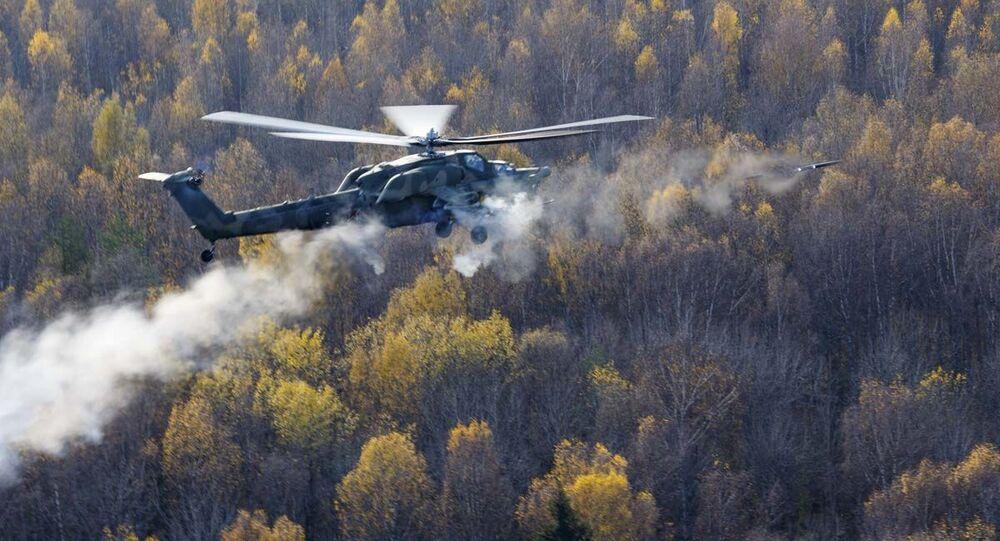 مناورات الطيران الحربي الروسي في إقليم تفيرسكايا (تفير) - الجيش الروسي، مروحية «مي - 28 إن»
