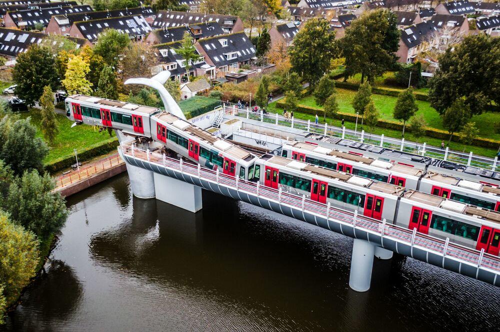 تمثال جسر ذيل الحوت ينقذ قطاراً من الحطام في مدينة سبايكينيسه، هولندا  2 نوفمبر 2020