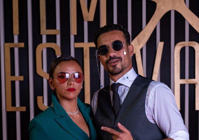 الفنان المصري أحمد داوود مع زوجته الفنانة علا رشدي في الدورة الثالثة لمهرجان الجونة السينمائي، 24 سبتمبر/ أيلول 2019